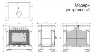 Изразцовая печь КимрПечь Модерн центральный Вишня
