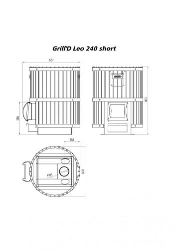 Печь для бани Grill-D Leo 240 short grey
