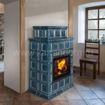 Изразцовая печь-камин Hein Baracca OU с надстройкой керамика