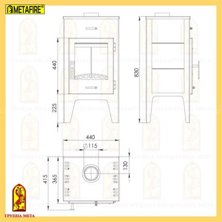 Печь-камин МЕТА MetaFire Пехорка 6