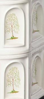 Печь-камин ЭкоКамин София угловая изразцовая бежевая Арка (с рисунком)