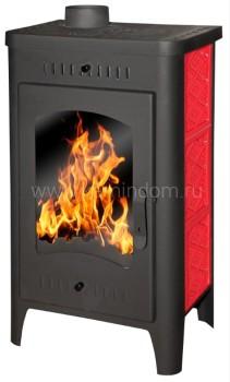 Печь-камин Бавария Оптима с плитой изразец красный