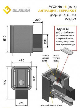 Дровяная печь для бани Везувий Русичъ Антрацит 16 (271)