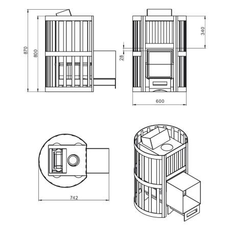 Чугунная печь для бани Везувий Ураган Стандарт 16 (Дверь: ДТ-4)