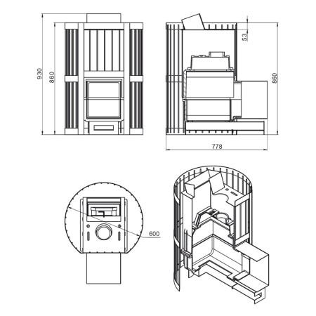Чугунная печь для бани Везувий Ураган Стандарт 22 (Дверь: ДТ-4)