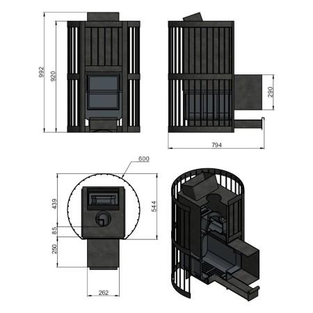 Чугунная печь для бани Везувий Ураган Ковка 28 (Дверь: 271)