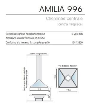 Камин Bordelet Amilia 996 центральный без стекла