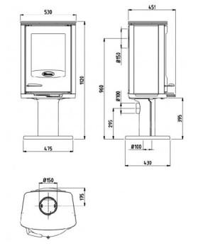 Печь-камин Dovre Astro2/P-GLB