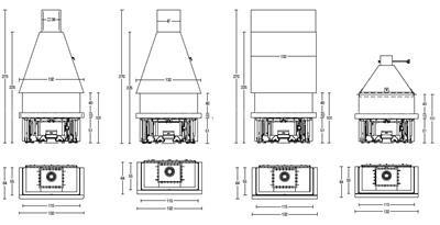 Каминная топка Piazzetta M360 T (купол и основание)