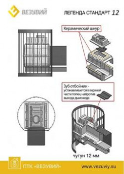 Чугунная печь для бани Везувий Легенда Стандарт 12 ДТ-3С