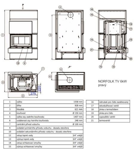 Каминокомплект ABX Norfolk Aqua (сталь) с теплообменником