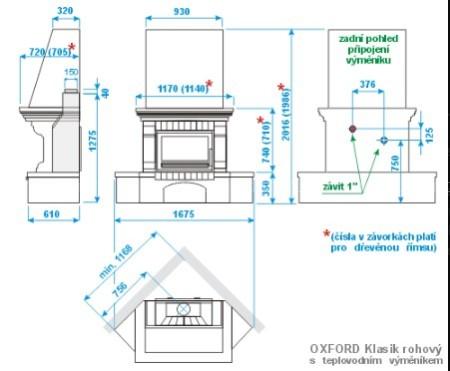 Каминокомплект ABX Oxford Klasik угловой с теплообменником (деревянная балка)