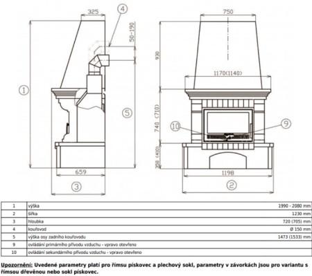 Каминокомплект ABX Oxford Klasik с теплообменником (цоколь из печаника, деревянная балка)