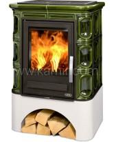 Кафельная печь-камин ABX Marina KP (белый цоколь, вставка комбо) с теплообменником