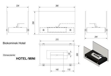 Набор с биокамином Kratki Hotel Mini, биотопливом и зажигалкой