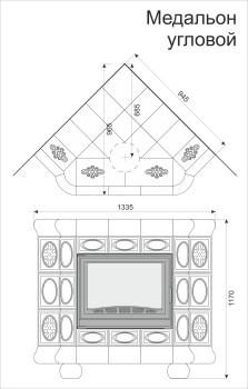 Изразцовая печь КимрПечь Медальон угловая Вишня