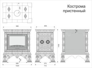 Изразцовая печь КимрПечь Кострома пристенная Январь