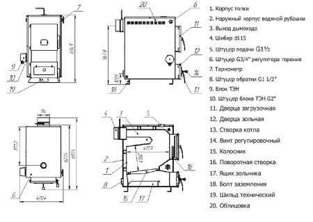 Котел твердотопливный Теплодар Куппер Практик 14