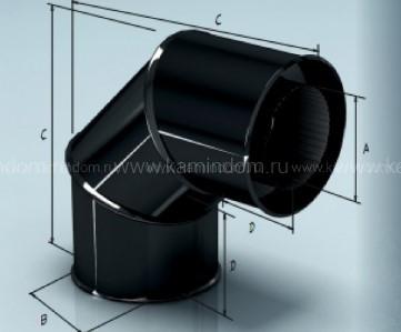 Cэндвич-отвод Lokki эмалированный для дымохода 90°, d=115*200 мм