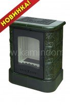 Изразцовая печь-камин ЭкоКамин София Цоколь Барокко (зеленая)