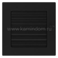 Вентиляционная решетка Kratki черная 17х17 с жалюзи
