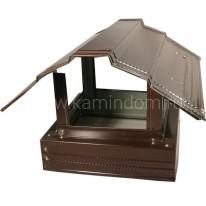 Зонт дымовой на кирпичную трубу до 100 см двухскатный