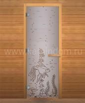 """Дверь для бани/сауны LK ДС Сатин Матовая с рисунком """"Рыбка"""" 1900х700мм ОСИНА"""