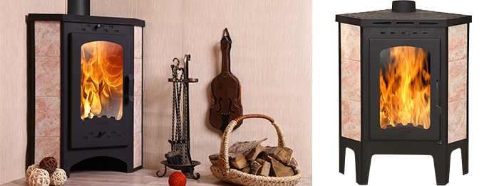 Печь-камин Экокамин Бавария угловая с плитой